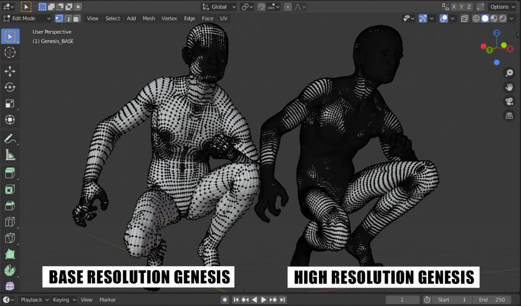 Genesis mesh density at Base and High resolution.