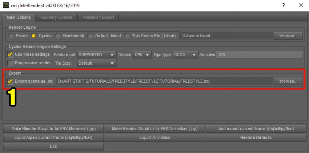 Teleblender main export options in Daz Studio.