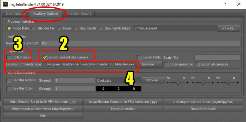 Teleblender auxiliary export options in Daz Studio.
