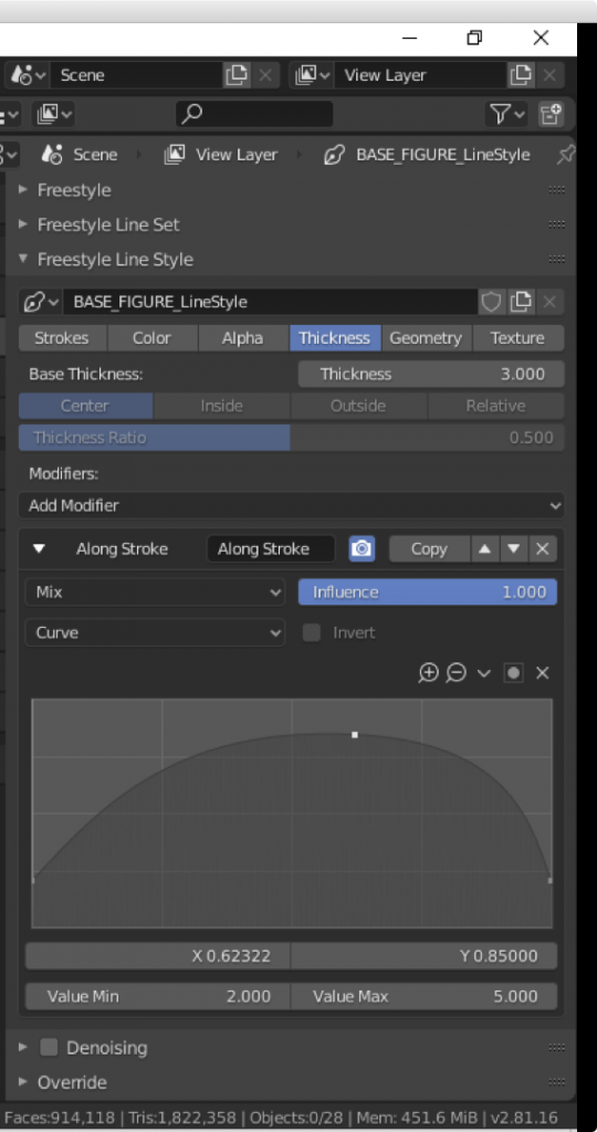 The 'Along Stroke' modifier in the Thickness tab for Freestyle