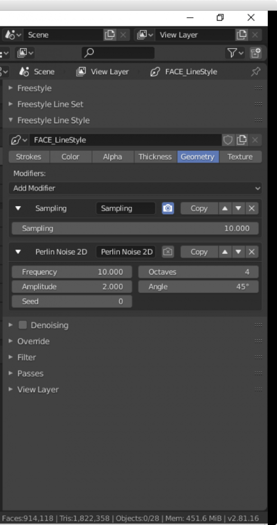 The 'Perlin Noise 2D' modifier in the Geometry tab for Freestyle